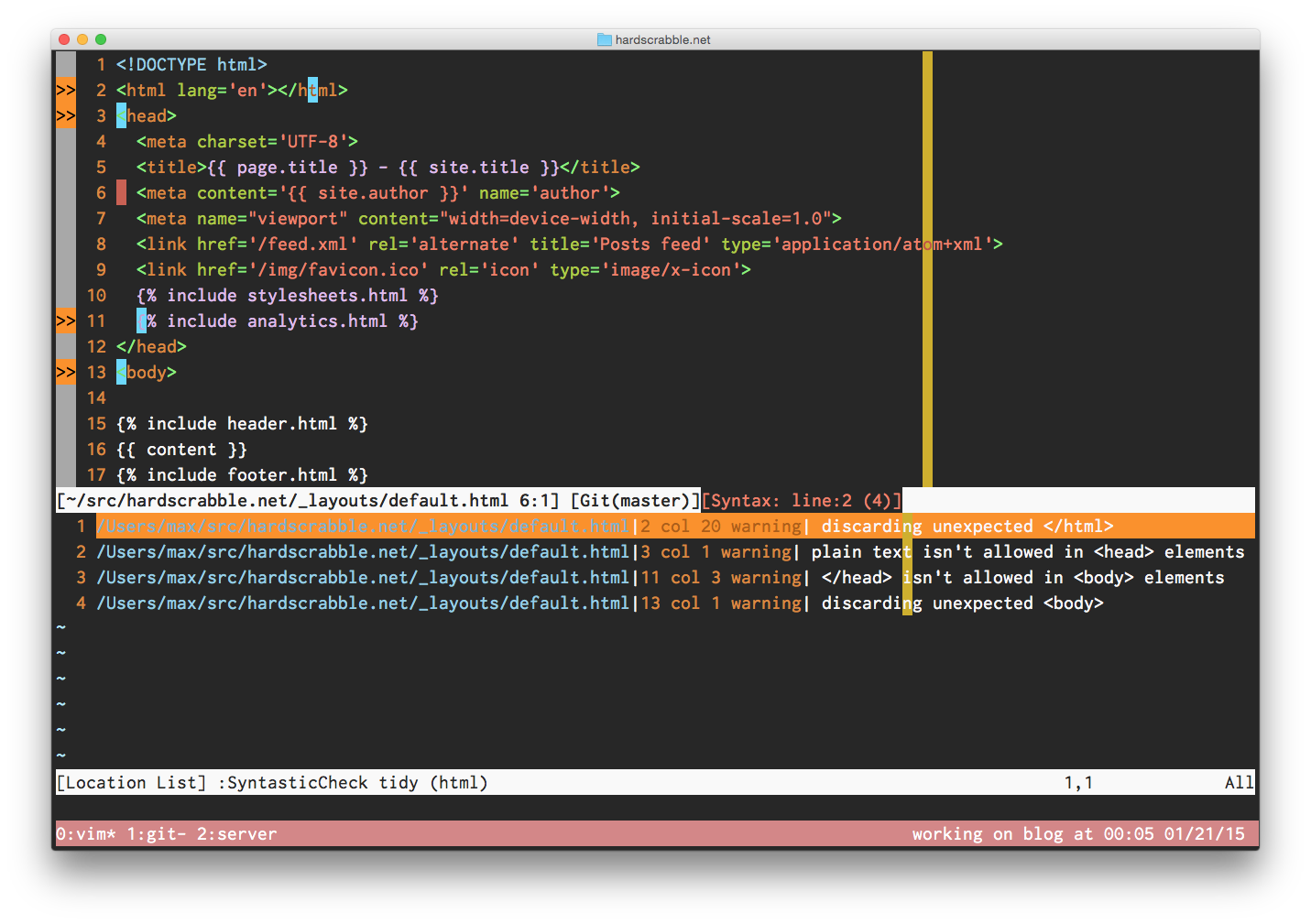 HTML in vim with syntastic